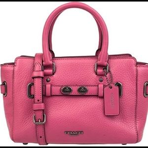 COACH Bubble Leather Mini Blake Crossbody-Magenta